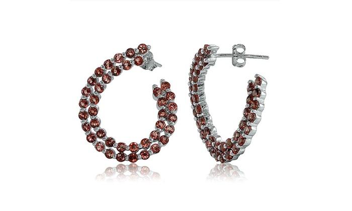 Groupon Goods: Sterling Silver 2mm African Garnet Open Twist Hoop Earrings