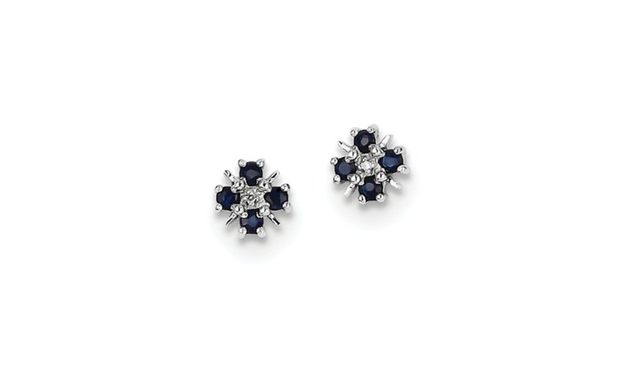 Goldia:  Sterling Silver Rhodium Plated Sapphire & Diamond Post Earrings.