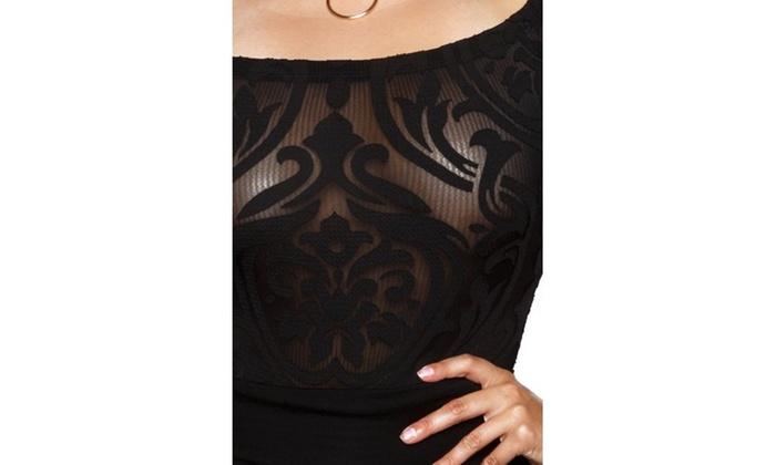 1fdaf9f8d75 ... Xehar Women s Plus Size Damask Illusion Short Sleeve Bodysuit Playsuit