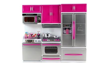 My modern kitchen dishwasher stove refrigerator battery op for Kitchen set groupon