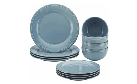 Rachael Ray Cucina 12-Piece Stoneware Dinnerware Set, Agave Blue 97a88c38-320e-4e4b-9cfb-f35f4a09043c