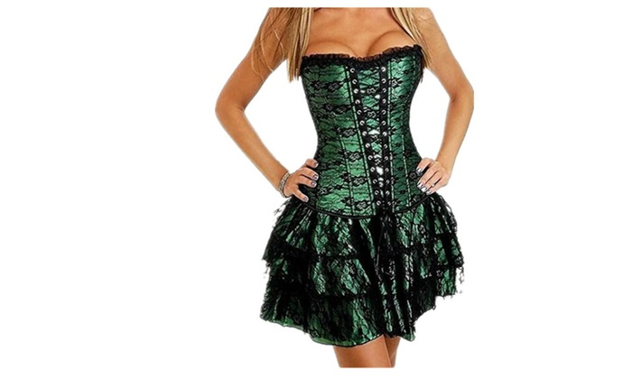 cd8a106007b58 Womens Sexy Gothic Lace Up Corset Bustier Dress Short Skirt | Groupon