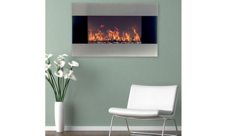 Stainless Steel Electric Fireplace w/ Wall Mount and Stand, 36 Inch by Northwest 72b58e64-3a5e-48e5-abb1-f719559131ad
