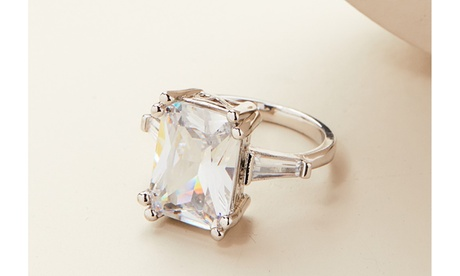 Emerald Cut Crystal Ring Made With Crystals By Swarovski