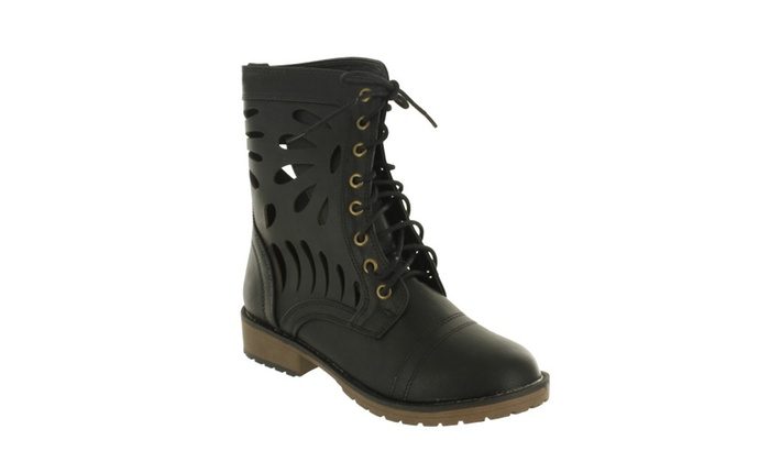 Red Circle Women's Seal Laser Cut Combat Boots