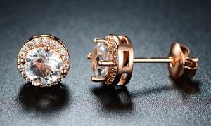 18K Rose Gold Halo Stud Earrings By Barzel