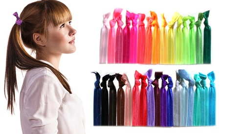 Silky Brilliant Multi-Colored Ribbon Hair Ties - 60 Count