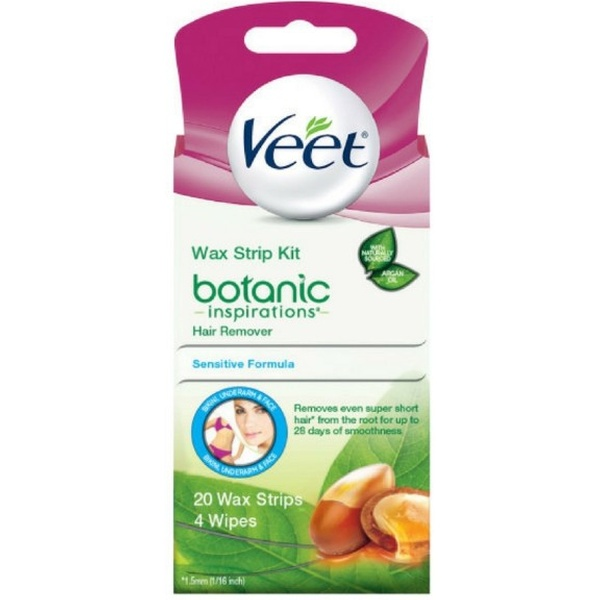 Veet Botanic Inspirations Wax Strip Kit For Bikini Underarm Face