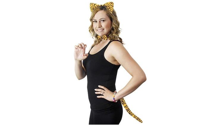 BLACK CAT EARS HEADBAND w Bow Tail Animal Costume Halloween Party Hair Accessory