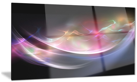 3D Pink Blue Glowing Light Abstract Metal Wall Art 28x12 04dae568-f2c9-4f13-9555-3408dbcd94d7