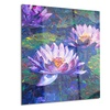Blue Lotus Oil Painting Floral Metal Wall Art 12x28