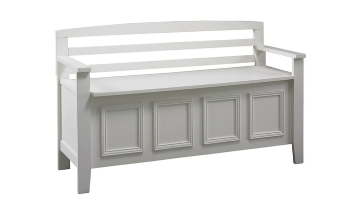 63% Off On White Storage Bench | Groupon Goods