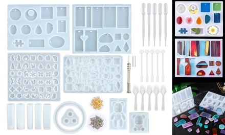 229pcs Epoxy Resin Casting Silicone Mold Kit Jewelry Making Pendant Craft DIY
