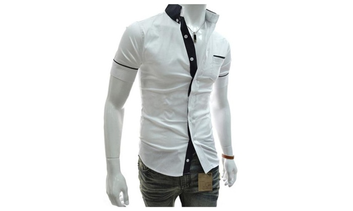 Men's Short Sleeve Casual Solid Buttons Up Fashion Shirt