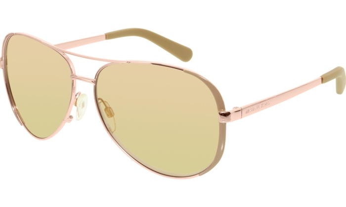 5c3eb8fd5a30 Michael Kors Women's Chelsea MK5004-1017R1-59 Rose Gold Aviator Sunglasses