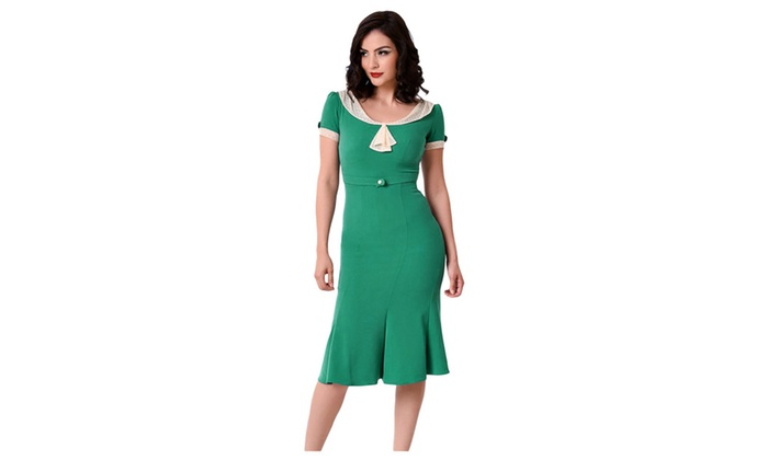 Women's Stop Staring Green Ivory Vintage Party Dress