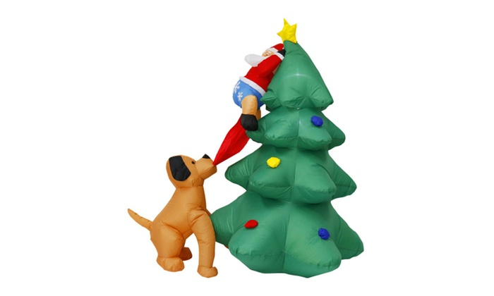 57 santa clause on tree chased by dog christmas yard outdoor decor