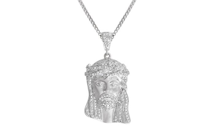 Up to 87 off on 12 cttw diamond jesus pendan groupon goods 12 cttw diamond jesus pendant in sterling silver by brilliant diamond aloadofball Image collections