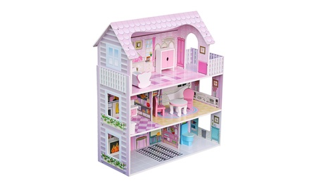 Children's Wooden Dollhouse Kid House Play Pink with Furniture