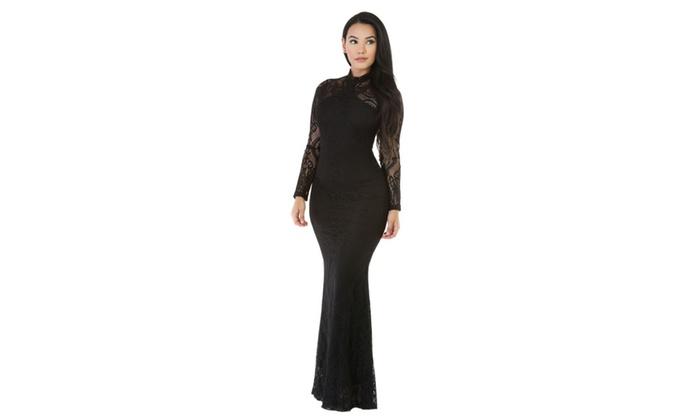 Women's Black Knit Flora Mermaid Doll Maxi Dress