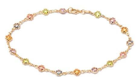 18K Gold Plated Multi Color Crystal oval Anklet