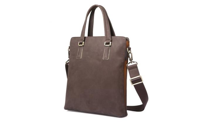 Men's  Leather Vertical Briefcase Handbag – Brown