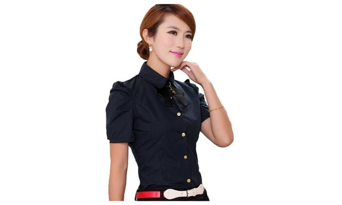 Women's Chiffon Bow Slim Stand Collar Office Shirt Short Sleeve Blouse