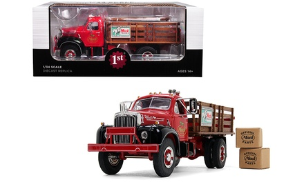 Mack B-61 Stake Bed Truck with Two Kraft Boxes Diecast Model by First Gear
