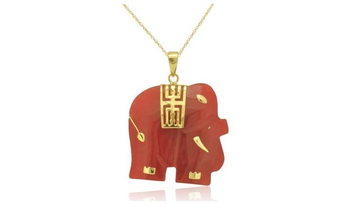 14k yellow gold red jade elephant pendant groupon 14k yellow gold red jade elephant pendant aloadofball Gallery