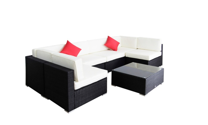 kinbor 7 pcs garden furniture pe rattan wicker sofa collection