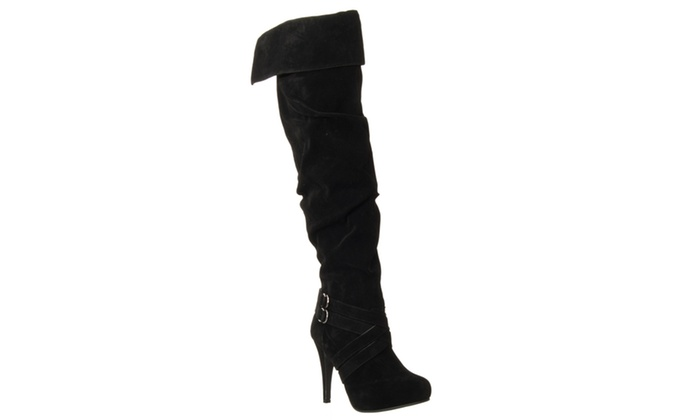 Riverberry 'Joy' Over-the-knee Microsuede Stilletto Boots, Black