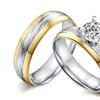 Stainless Steel 2pcs/ Big Cubic Zircon Unisex Engagement Ring