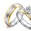 Stainless Steel 2pcs/ Big Cubic Zircon Unisex Engagement Rings