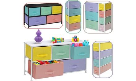 Furniture Dresser w/ Drawers - Storage Organizer Chest - Pastel Medley