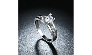 Classic Single Solitaire Engagement Ring Set in 18K White Gold