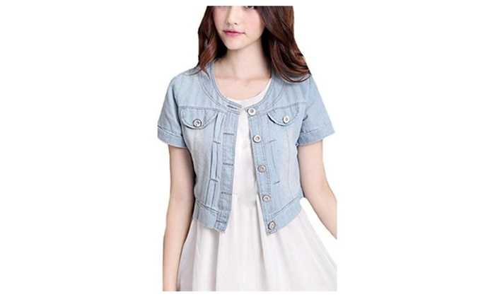 Unko Womens Fashion Slim Fit Short Sleeve Denim Coat Jacket