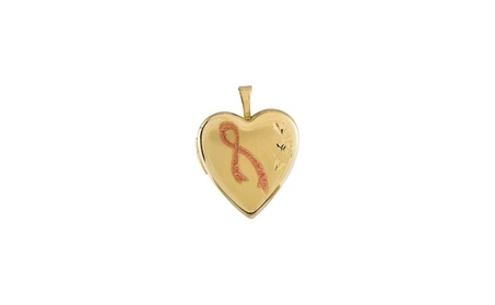 14K Yellow Gold-Plated Silver Breast Cancer Awareness Heart Locket f0c27cee-c5b0-4423-9820-f264f9d1397c