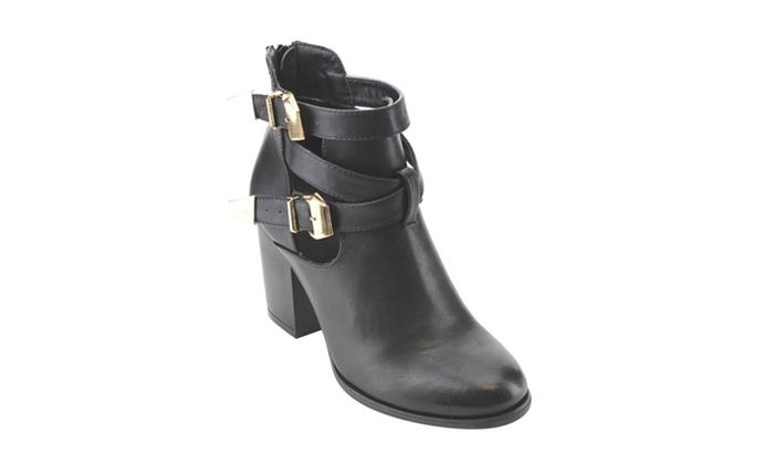 Beston AE64 Women Side Zip Buckle Strap Cut Out Block Heel Ankle Boot