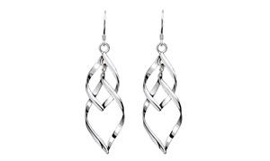 925 Sterling Silver Spiral Interlocking Leaf Earring