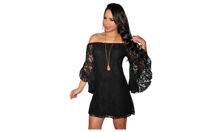 Womens Plus Size Black Lace Off The Shoulder Mini Dress Groupon
