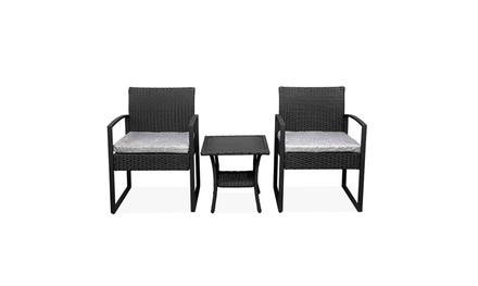3-piece Outdoor Indoor Terrace Double-Coffee Table Rattan Chair Mini Leisure Set