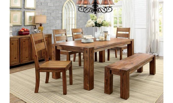 Furniture of america rodney dining bench dark oak groupon for Vs furniture america