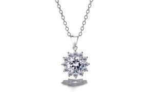 Sterling Silver Preciosa Crystal Halo Flower Pendant Necklace