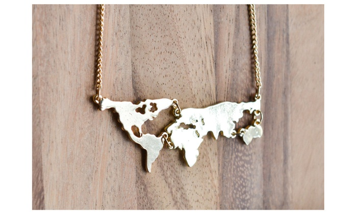 World map necklace best gift present 2016 christmas holiday groupon world map necklace best gift present 2016 christmas holiday gumiabroncs Choice Image