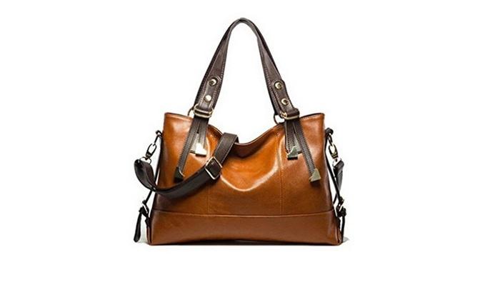 Bonamana Womens PU Leather Shoulder Bag Crossbody Bag Handbags – Brown / one size
