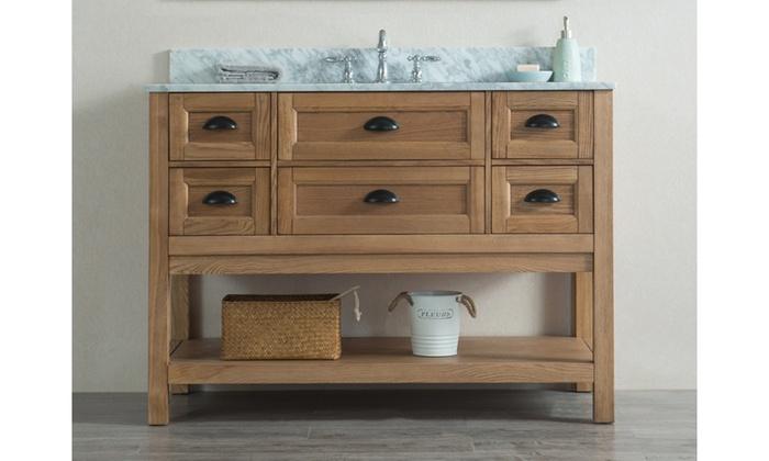 Incroyable ... Alamitos 48 Inch Weathered Oak Single Sink Marble Countertop Bathroom  Vanity ...
