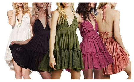 Women Deep V-Neck Backless Patchwork Halter Cocktail Mini Dress 11d9dc1d-8c8a-4a3a-b08d-1da2440e8d50