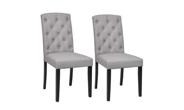 Awe Inspiring Set Of 2 Linen Fabric Wood Accent Dining Chair Tufted Modern Living Room Gray Uwap Interior Chair Design Uwaporg