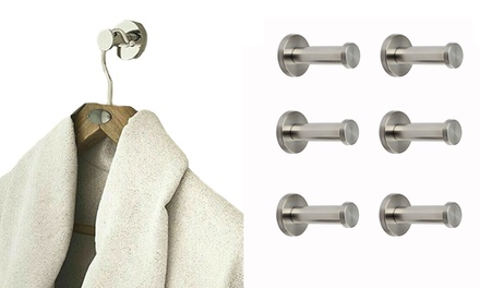 2-4 PCS Brushed Stainless Steel Wall Hooks Wall Mount Coat Towel Hanger Bathroom