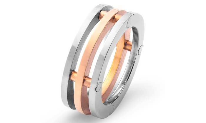 Groupon Goods: Stainless Steel 3-piece Wedding Band